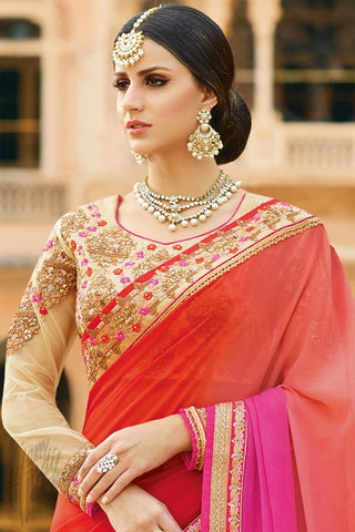 Buy Red Magenta and Beige Georgette Online at indi.fashion