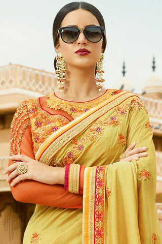 Buy Mustard and Orange Silk Saree Online at indi.fashion
