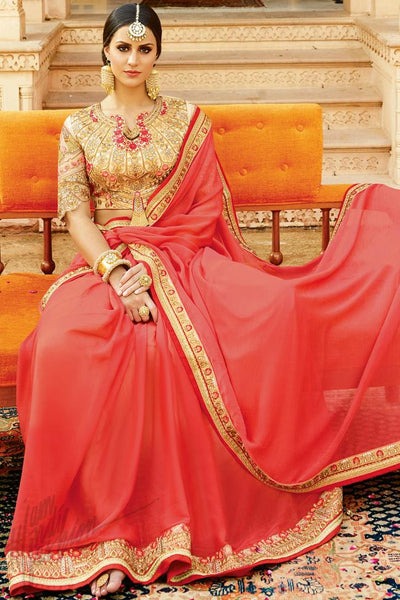 Buy Red and Beige Chiffon Saree Online at indi.fashion