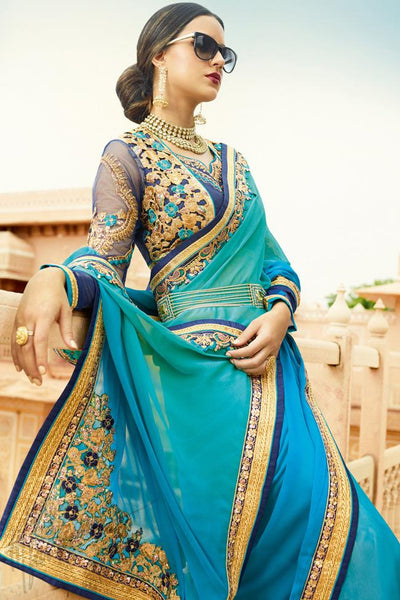 Buy Peacock Blue and Green Shaded Chiffon Saree Online at indi.fashion