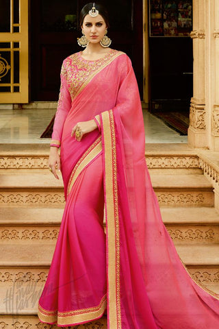 Buy Rani Pink Chiffon Saree Online at indi.fashion