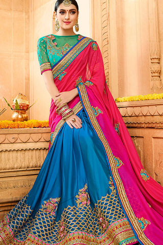 Indi Fashion Peacock Blue Rama Green and Pink Silk Party Wear Saree