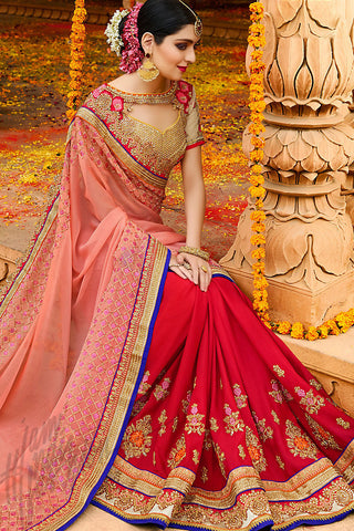Indi Fashion Red Peach and Gold Chiffon Party Wear Saree