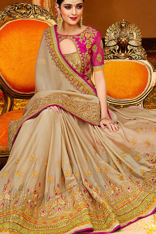 Indi Fashion Light Brown and Magenta Silk Party Wear Saree
