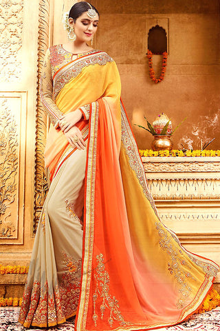 Indi Fashion Shaded Light Brown Orange Peach and Yellow Georgette Party Wear Saree
