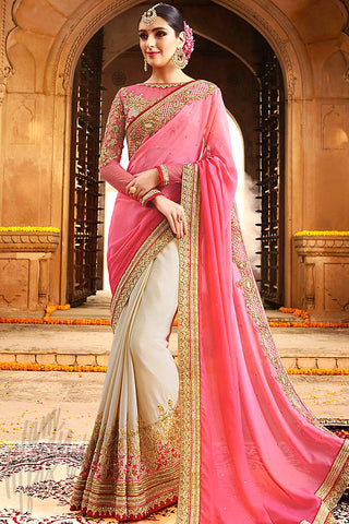 Indi Fashion Beige and Pink Silk Party Wear Saree