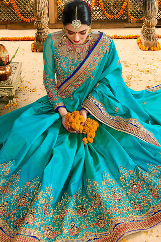 Indi Fashion Blue Silk Party Wear Saree