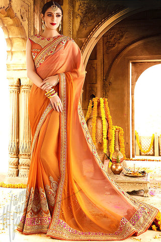 Indi Fashion Orange and beige Silk Party Wear Saree