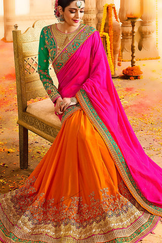 Indi Fashion Orange Pink and Rama Green Silk Party Wear Saree