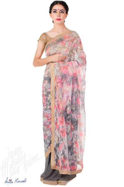 Buy Gray and Pink Georgette Saree Online at indi.fashion