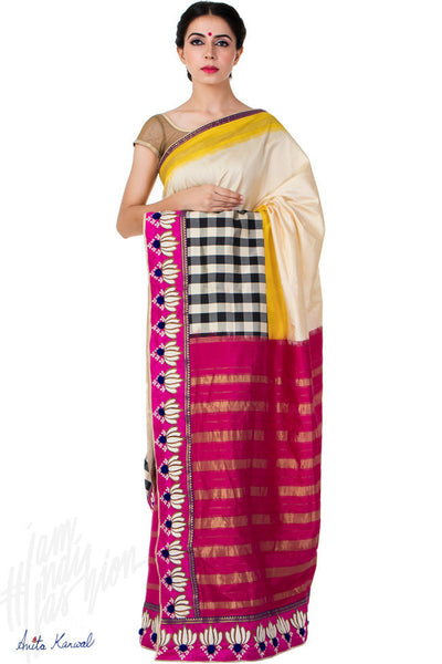 Buy Red and Cream Chanderi Saree Online at indi.fashion