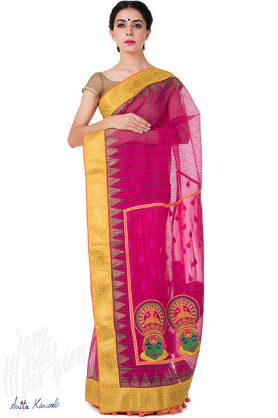 Buy Magenta and Gold Chanderi Saree Online at indi.fashion