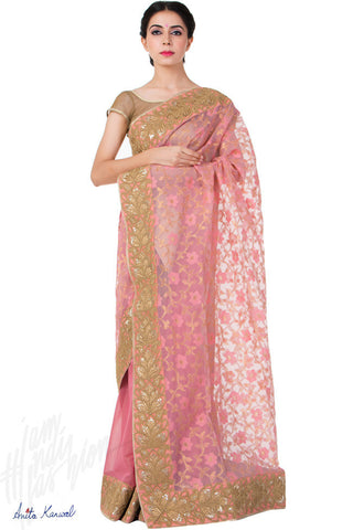 Buy Baby Pink and Gold Chanderi Saree Online at indi.fashion