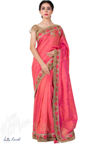 Buy Pink Raw Silk Saree Online at indi.fashion