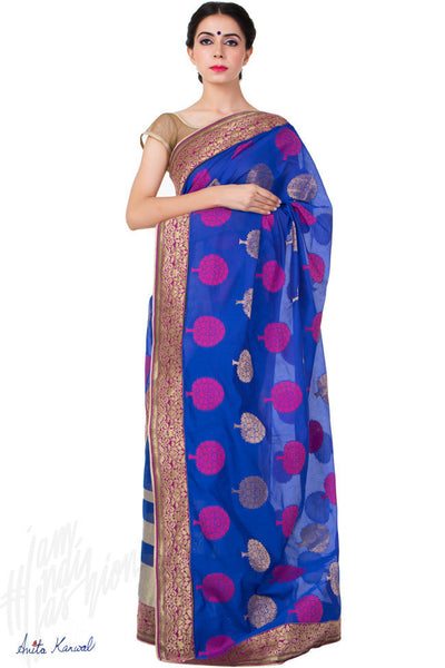 Buy Blue Chanderi Saree Online at indi.fashion