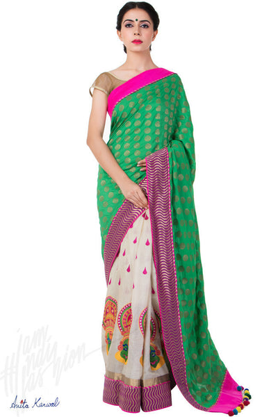Buy Green and Off White Tussar Silk Saree Online at indi.fashion