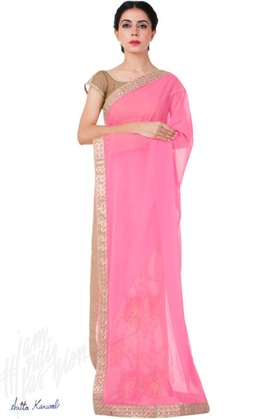 Buy Pink Fuax Georgette Saree Online at indi.fashion