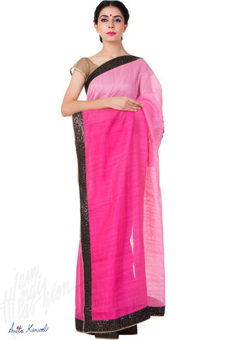 Buy Pink and Magenta Jute Silk Saree Online at indi.fashion