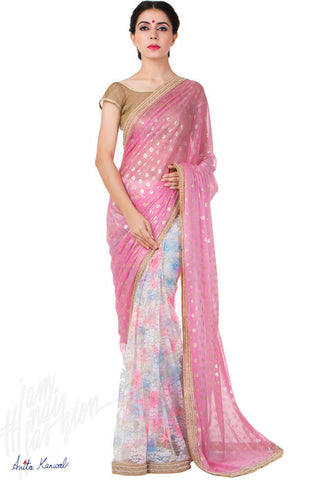 Buy Pink Shimmer and Georgette Saree Online at indi.fashion