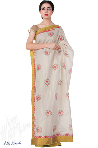 Buy Off White Kerala Tissue Silk Saree Online at indi.fashion