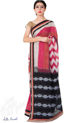 Buy Red and Black Ikat Saree Online at indi.fashion