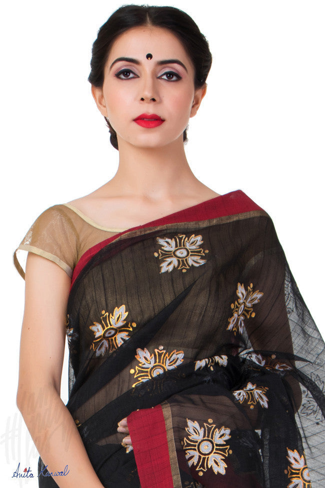 Buy Black Handloom Cotton Saree Online at indi.fashion