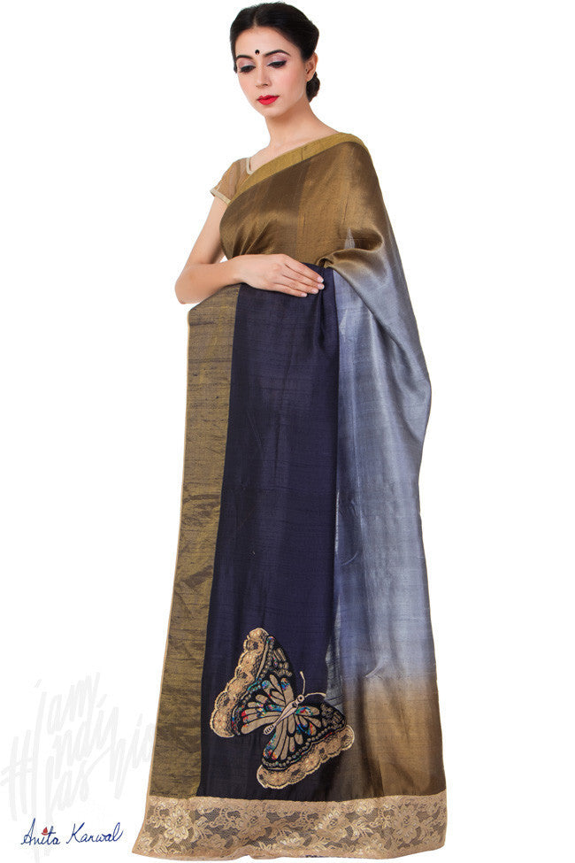 Buy Copper and Blue Raw Silk Saree Online at indi.fashion