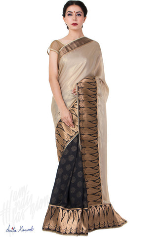 Buy Beige and Black Georgette Saree Online at indi.fashion