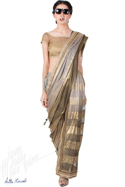 Buy Gray and Copper Shimmer Dhoti Saree Online at indi.fashion