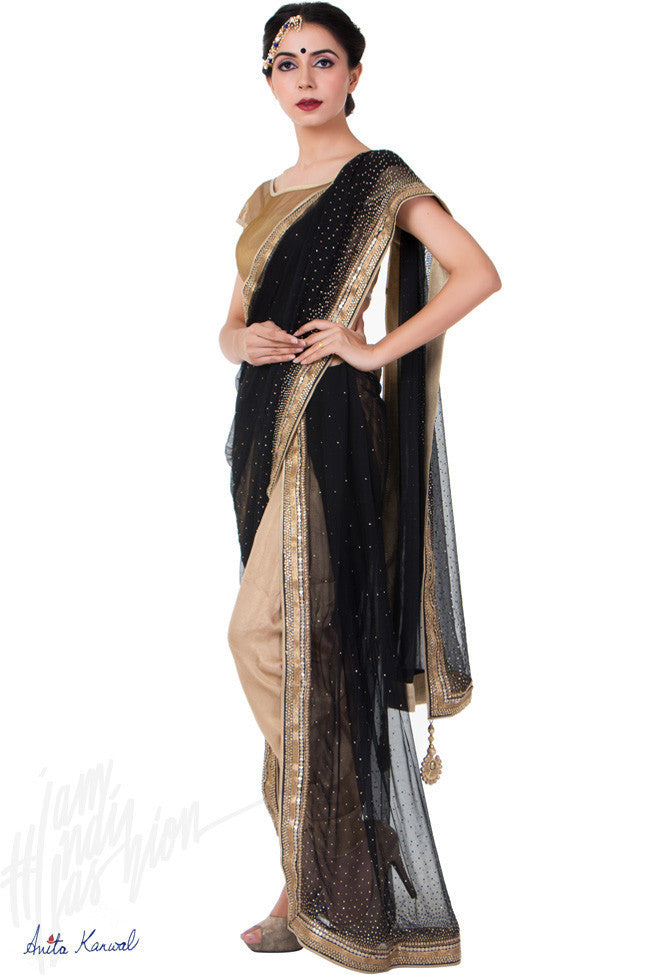 Buy Black and Gold Shimmer Dhoti Saree Online at indi.fashion