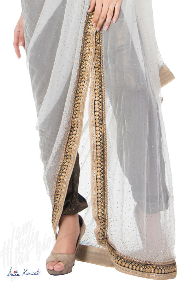 Buy White and Copper Shimmer Dhoti Saree Online at indi.fashion