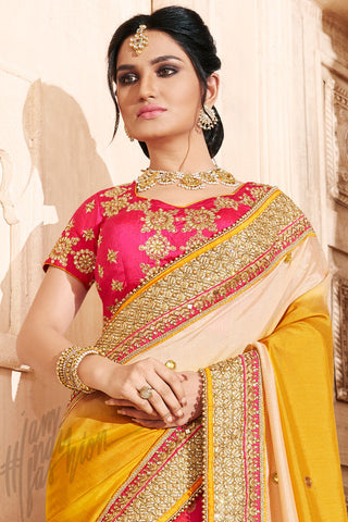 Indi Fashion Pink Yellow and Light Peach Shaded Silk Saree