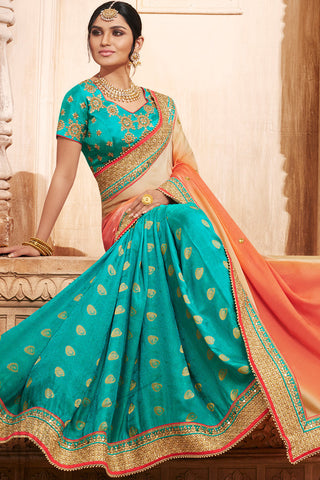 Indi Fashion Sea Green Orange and Beige Shaded Silk Saree