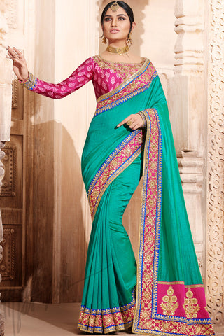 Indi Fashion Sea Green and Pink Handloom Art Silk Saree