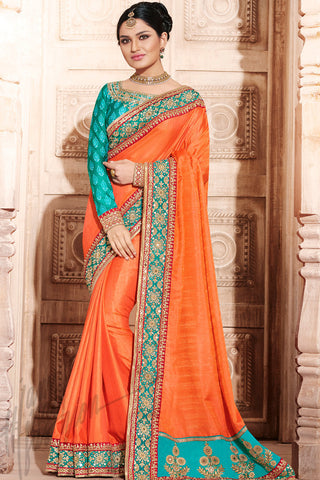 Indi Fashion Orange and Rama Green Handloom Art Silk Saree