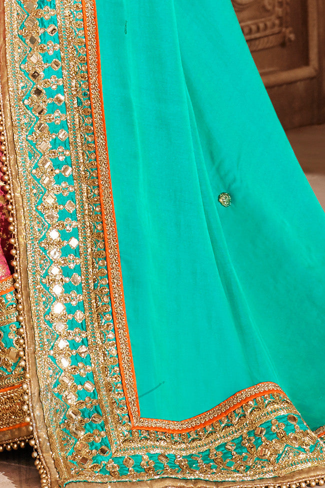 Indi Fashion Rama Green and Rani Pink Satin Silk Saree