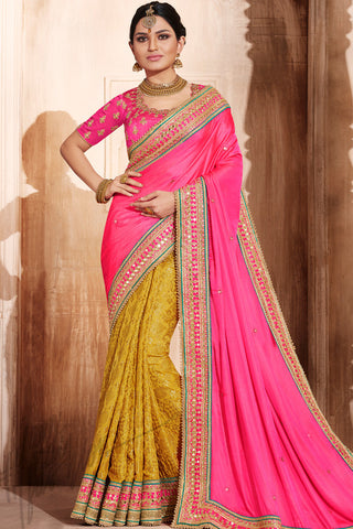 Indi Fashion Pink and Mustard Yellow Satin Silk Saree