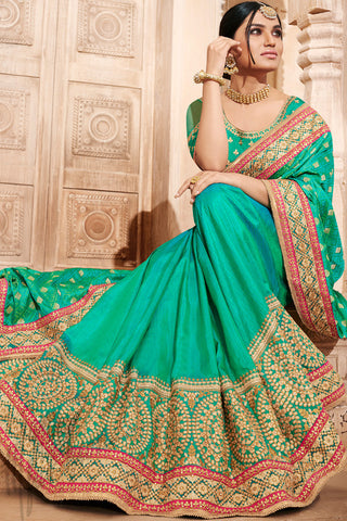 Indi Fashion Green Jacquard Silk Saree