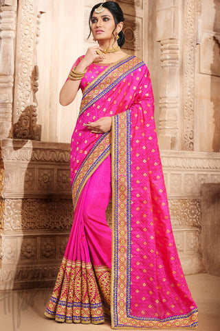 Indi Fashion Rani Pink Jacquard Silk Saree