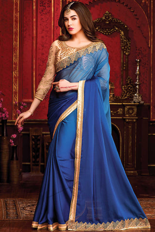 Indi Fashion Blue and Peach Chiffon Party Wear Saree