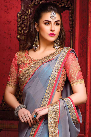 Indi Fashion Gray Blue and Pink Georgette Party Wear Saree