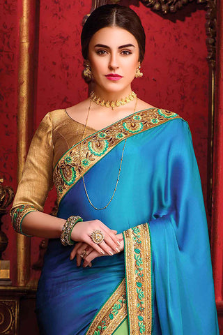 Blue Green and Gold Silk Party Wear Saree