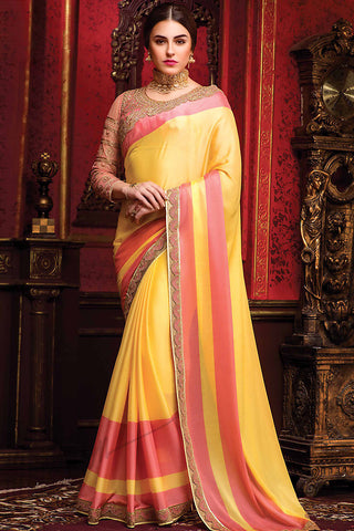 Indi Fashion Yellow and Pink Silk Party Wear Saree