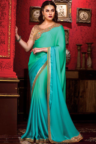 Indi Fashion Shaded Green and Gold Satin Party Wear Saree