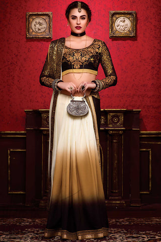 Indi Fashion Cream Beige and Black Shaded Silk Party Wear Saree