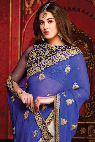 Indi Fashion Blue and White Chiffon Party Wear Saree