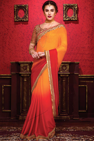 Indi Fashion Orange and Red Shaded Silk Party Wear Saree