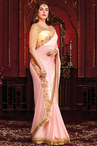 Indi Fashion Light Peach and Cream Satin Party Wear Saree