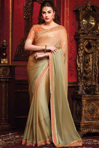 Indi Fashion Orange and Green Shaded Chiffon Party Wear Saree