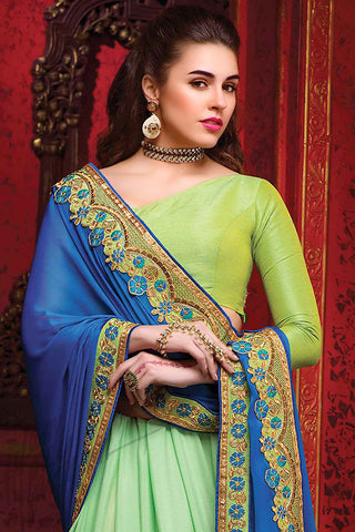 Indi Fashion Blue and Sea Green Chiffon Party Wear Saree